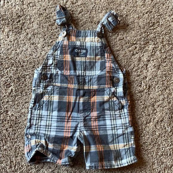 Oshkosh B/'gosh Suspender Bib Playsuit Shortall Boy Select Sz 6 9 12 Mos Blue NWT
